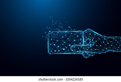 Abstract hand holding credit card form lines and triangles, point connecting network on blue background. Illustration vector