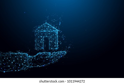 Abstract Hand holding a small house form lines and triangles, point connecting network on blue background. Illustration vector