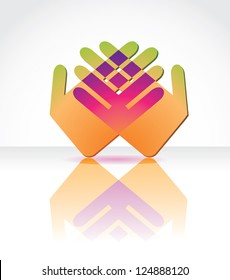 Abstract Hand Icon Vector EPS 8 no open shapes or paths. Grouped for easy editing.