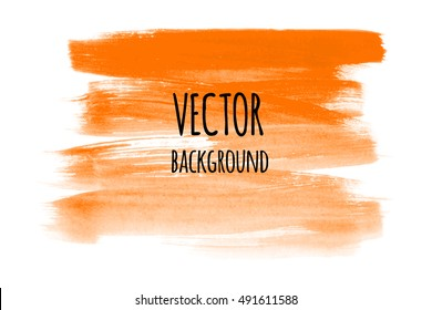 Abstract hand paint backdrop. Vector eps 8 isolated on white background. Orange