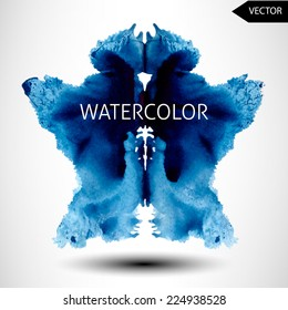 abstract hand painted watercolor ink rorschach grunge vector background