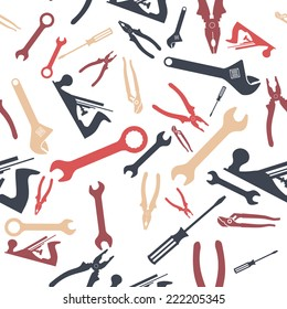 Abstract Hand tools Seamless pattern. Vector illustration
