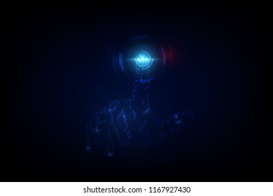 abstract hand touching digital sci fi hi tech innovation concept template background