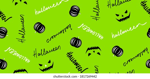 Abstract Hand Writing Halloween Repeating Vector Pattern Isolated Background