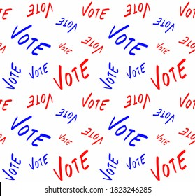 Abstract Hand Writing USA Colors Vote Texts Repeating Vector Pattern Isolated Background
