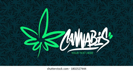 Abstract Hand Written Word Cannabis With Cannabis Leaf Vector Illustration Art