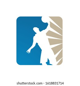 Abstract Handball logo team silhouette of player Handballs vector sign logo badge