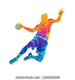 Abstract handball player jumping with the ball from splash of watercolors. Vector illustration of paints