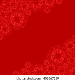 Abstract hand-drawn creative background of stylized flowers in dark red and scarlet colors. Vector illustration.
