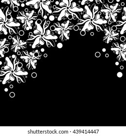 Abstract hand-drawn creative background of stylized flowers in black and white colors. Vector illustration.