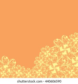 Abstract hand-drawn creative background of stylized flowers in light yellow and dark green colors. Vector illustration.
