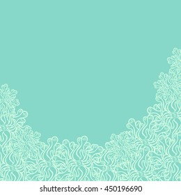 Abstract hand-drawn creative background of stylized flowers in pale turquoise and mint colors. Vector illustration.