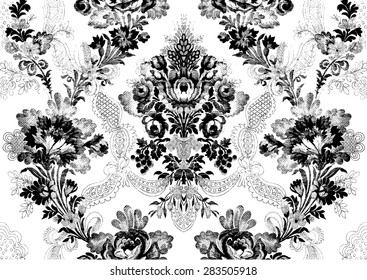Abstract hand-drawn floral seamless pattern, Victorian vintage background. Floral print  for wallpaper, textile, pattern fills, web page background, surface textures, packaging, and invitations