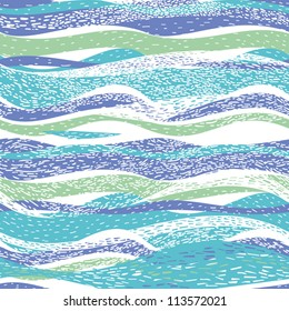 Abstract hand-drawn pattern, background with waves