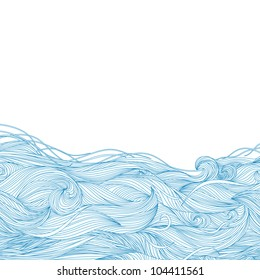 Abstract hand-drawn pattern, waves background