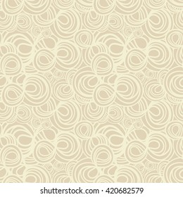 Abstract hand-drawn seamless pattern with spiral curls. Elegant vector background. Casual beige colors.