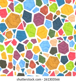 Abstract hand-drawn seamless polygonal pattern. Marker geometric element tiled texture background. Overlapped rectangles, triangles, pentagons and hexagons.