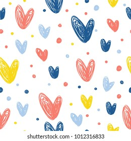 Abstract handmade seamless pattern background. Childish handcrafted wallpaper for design card, baby nappy, diaper, scrapbook, holiday wrapping paper, textile, bag print, t shirt etc.