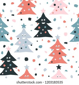 Abstract handmade seamless pattern. Childish craft wallpaper for birthday card, baby nappy, school party advertising, shop sale poster, holiday wrapping paper, textile, bag print, t shirt etc.