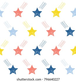 Abstract handmade star seamless pattern background. Childish handcrafted wallpaper for design card, baby nappy, diaper, scrapbook, holiday wrapping paper, textile, bag print, t shirt etc.