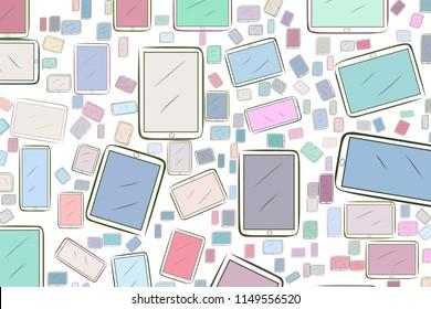 Abstract handphone or mobilephone generative art background. Vector artwork.