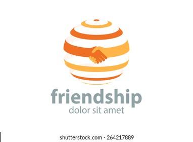 Abstract handshake circle logo. Successful business symbol. Vector
