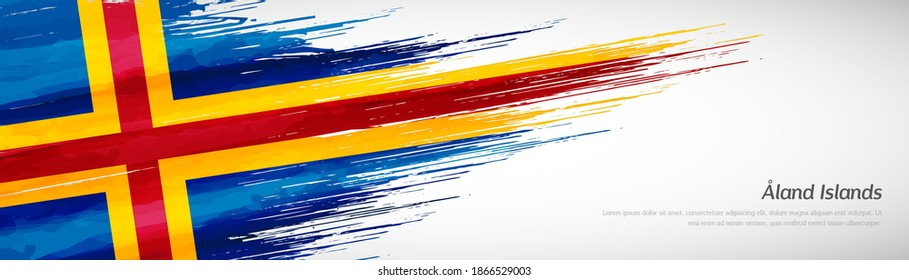 Abstract happy autonomy day of Aland Islands with creative watercolor national brush flag background