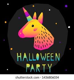 Abstract happy halloween pattern background. Modern childish paper cut halloween art for design card, halloween party invitation, menu, autumn holiday shop sale, bag print, t shirt etc.