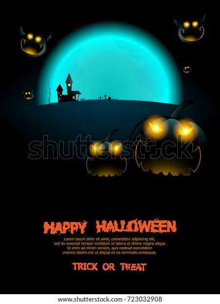 Halloween Poster Background Free.Abstract Happy Halloween Poster Background Vector Stock