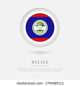 Abstract happy independence day of Belize country with country flag in circle greeting background