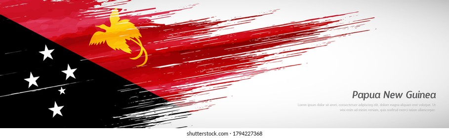 Abstract happy independence day of Papua New Guinea with creative watercolor national brush flag background