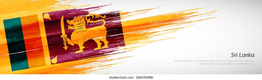 Abstract happy independence day of Sri Lanka with creative watercolor national brush flag background