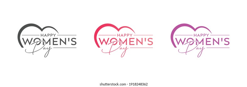 Abstract happy women's day logo, happy women's day, love vector logo design, pink color, red color, black color logo design