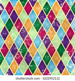 Abstract harlequin pattern, digital background with vintage texture. Vector illustration eps10