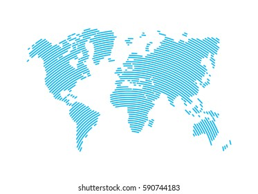 Abstract Hatched World Map with Lines. World Stripes Map.Travel Vector Illustration.