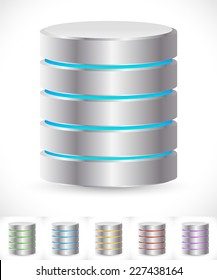 Abstract HDD cylinders with lively colors. Technology, file or web storage. Hosting, server, mainframe or super computer, Archive, backup concepts / icons.
