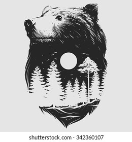 Abstract head of the bear
