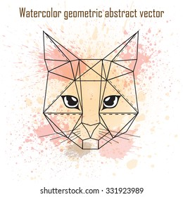 Abstract head of cat geometric shapes with watercolor splatter