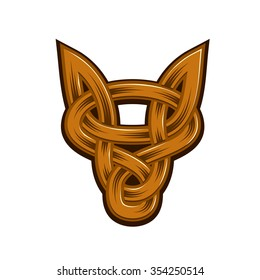 Abstract head of fox in celtic style, vector illustration
