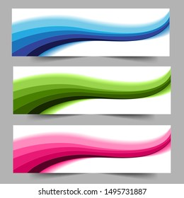 Abstract header blue green pink shape vector design. Abstract swoosh background. Abstract corporate business banner web template, horizontal advertising.