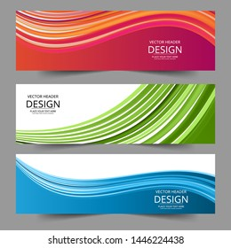 Abstract header blue red green wave vector design. Abstract swoosh background. Abstract corporate business banner web template, horizontal advertising.
