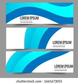Abstract header blue shape vector design. Abstract corporate business banner web template, horizontal advertising.