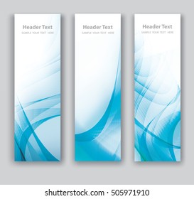 Abstract header vertical blue wave white vector design