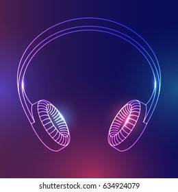 Abstract headphones with glow effect. Vector illustration