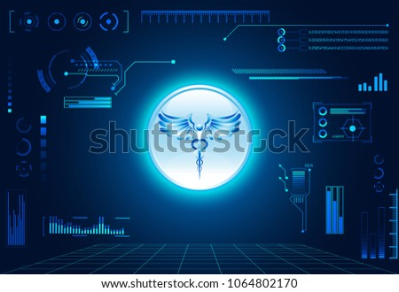 Abstract Health Hud Ui Interface Element Of Medical Science Consist Digital Technology Concept Modern Future