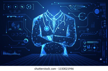 abstract health medical science consist doctor digital futuristic virtual hologram treatment,medicine and communication system link connection on  hi tech blue background.Vector