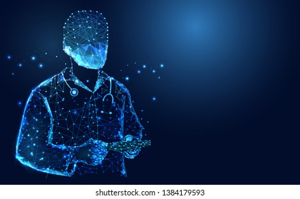 Abstract health medical science consist doctor digital wireframe concept modern medical technology,Treatment,medicine on blue background. for template, web design or presentation.