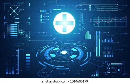 Abstract health medical science Healthcare plus digital technology concept modern medical technology,Treatment,medicine on hi tech future blue background. for template, web design or presentation.
