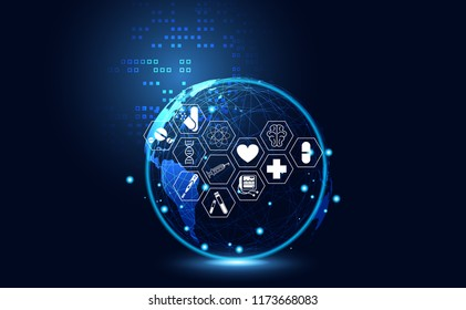Abstract health medical science healthcare icon digital technology world concept modern innovation,Treatment,medicine on hi tech future blue background. for wallpaper, template, web design.