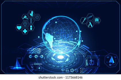 Abstract health medical world ui futuristic hud interface hologram science healthcare icon digital technology science concept modern innovation,Treatment,medicine on hi tech future blue background
